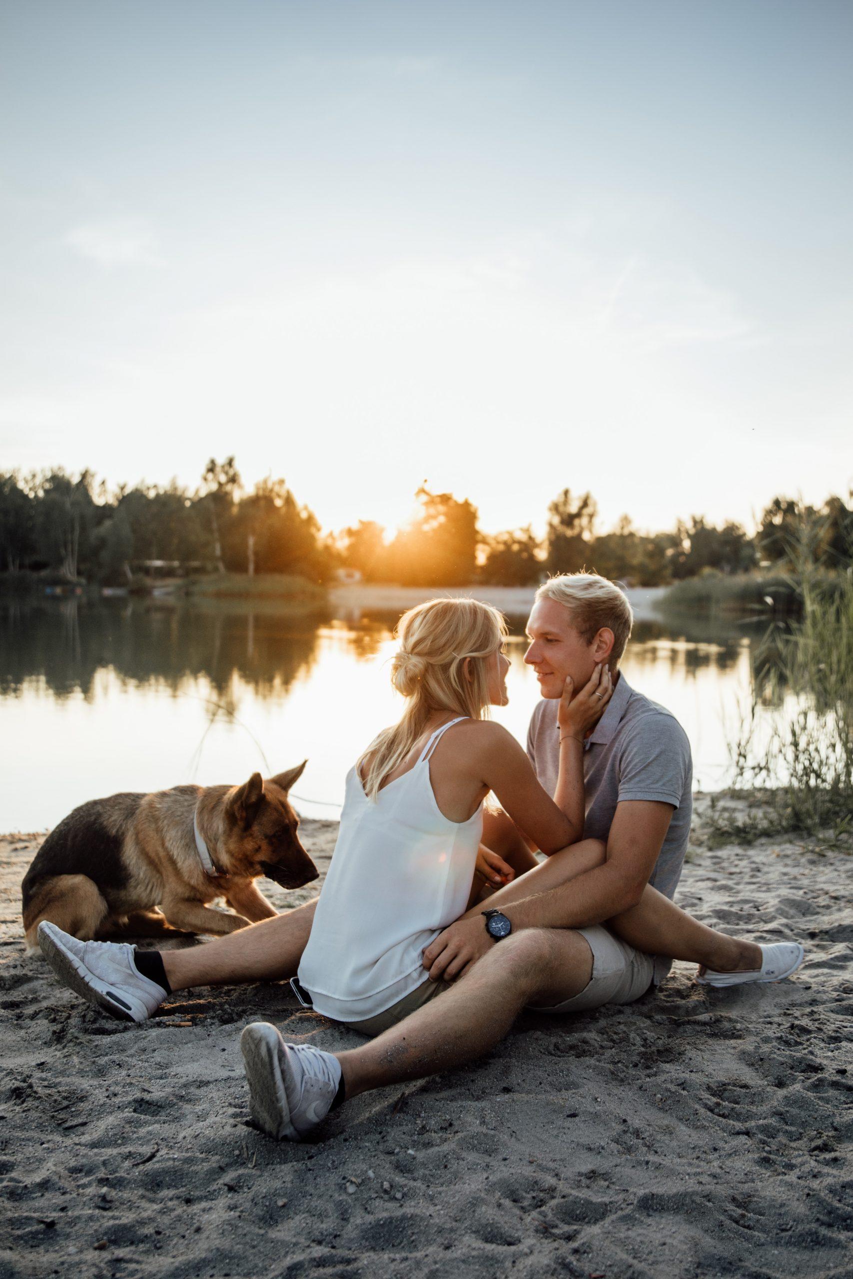 Sonnenuntergang am Horizont, ein verliebtes Paar sitzt sich gegenüber mit zwei großen Hunden, Hundeshooting